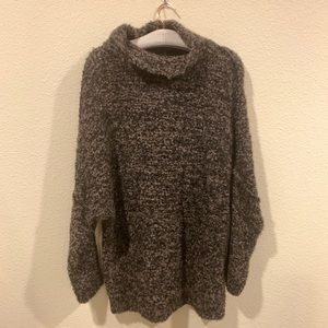 NWT Free People Boucle black funnel neck sweater